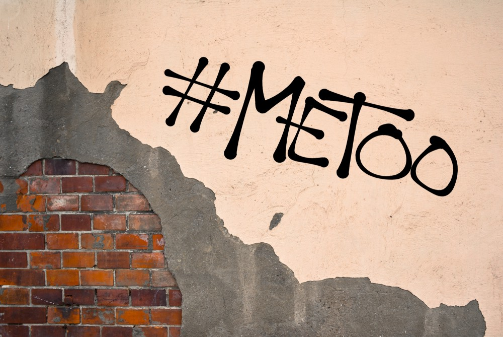 MeToo - handwritten graffiti sprayed on the wall - allegation on sexual abuse, harassment, assault, incident, unwanted and nonconsensual rape and sex, physical violence