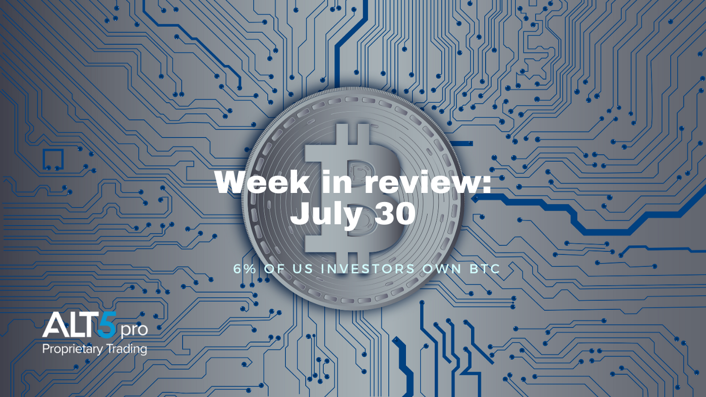 Week in review: July 30, 2021 - 6% of US investors own BTC