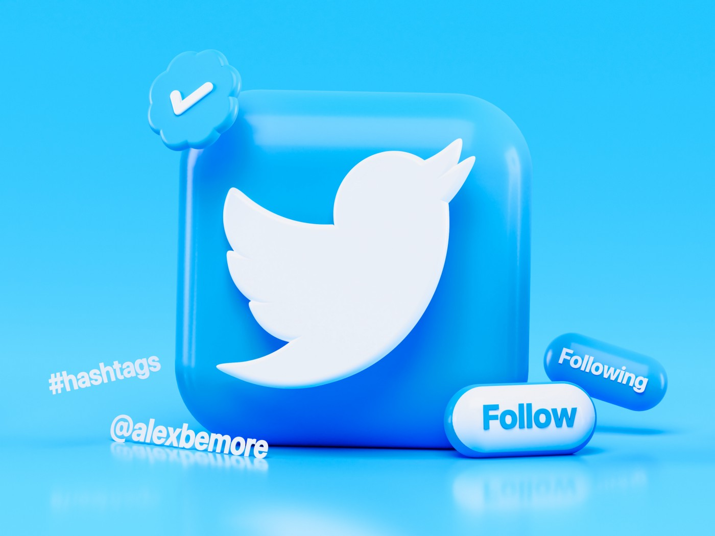 A title image of a big Twitter app icon in Twitter blue and other Twitter related icons next to it.