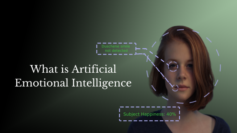 """Text reads """"What is artificial emotional intelligence"""". The image has a black gradient background and shows a girl with neutral expression. Her eyes and lips are highlighted and are marked as """"Duschenne smile not detected"""". Below here face """"Subject happiness: 40%"""" is written in dotted square."""