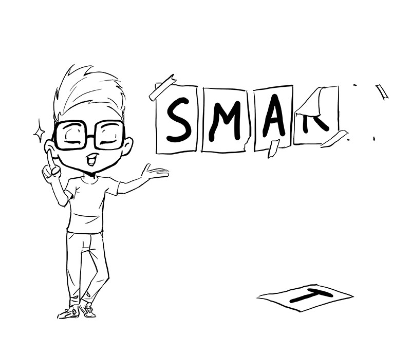 Cartoon character trying to look smart.