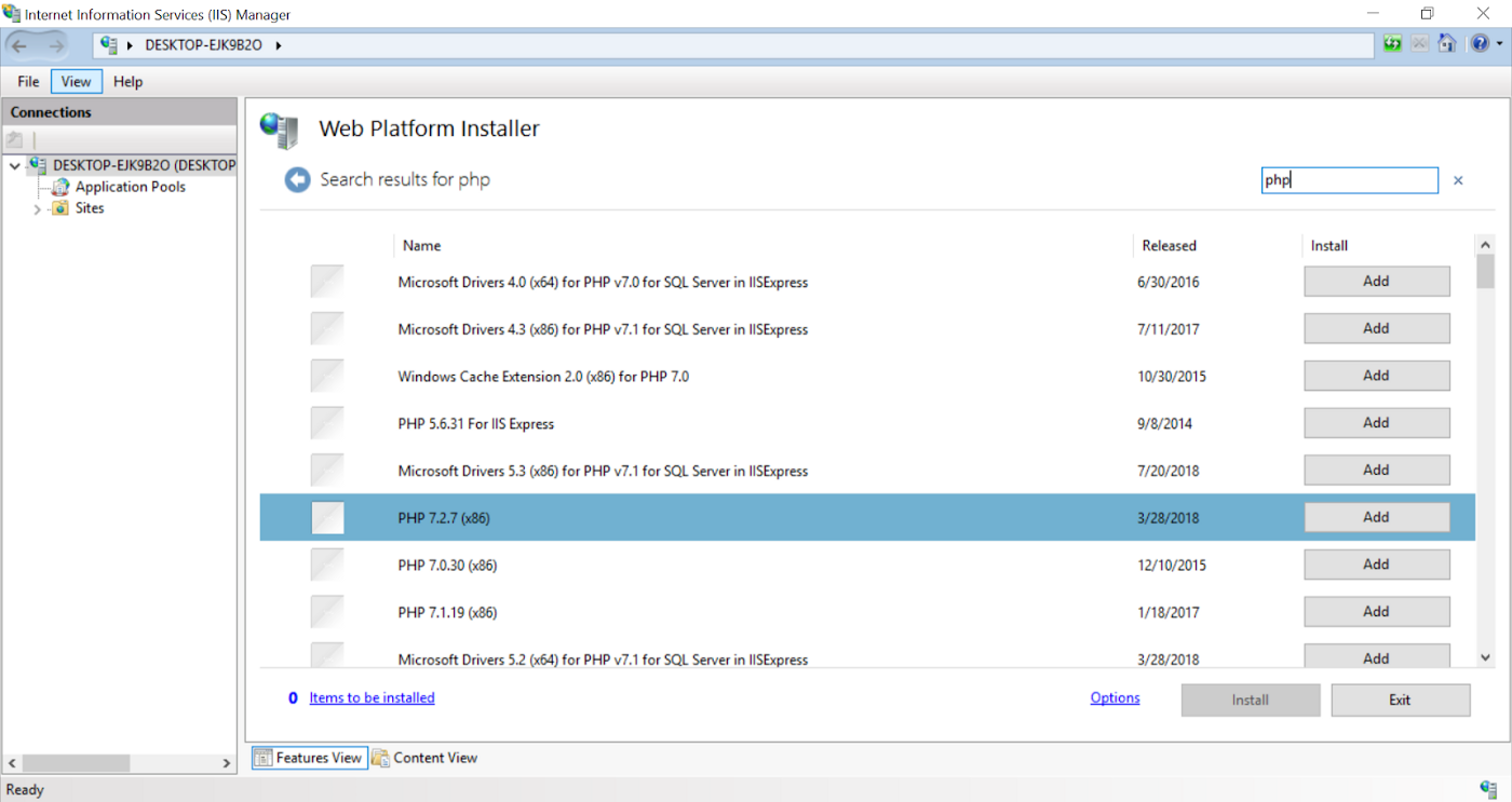 How to install and configure multiple versions of PHP in IIS (no CMD