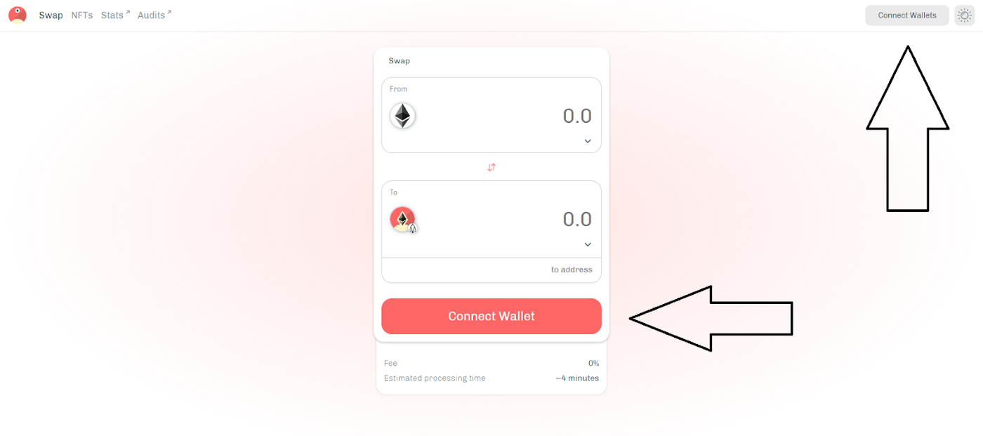pTokens dApp—Connect wallet, landing page