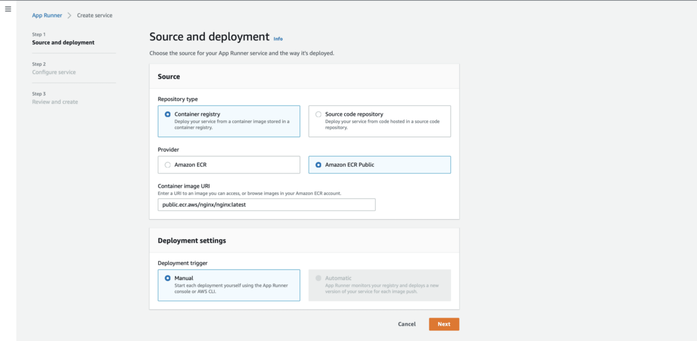 AWS App Runner Specify Container Image