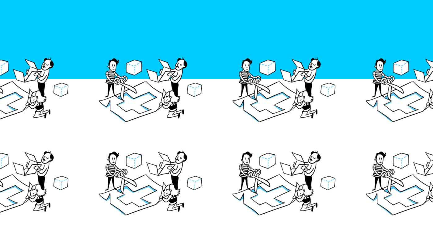 Illustration showing people working together to assemble a cut-out paper box.