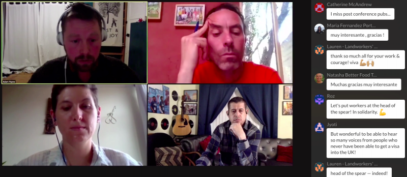 Zoom screenshot of a session on mobilising workers against multinational corporations