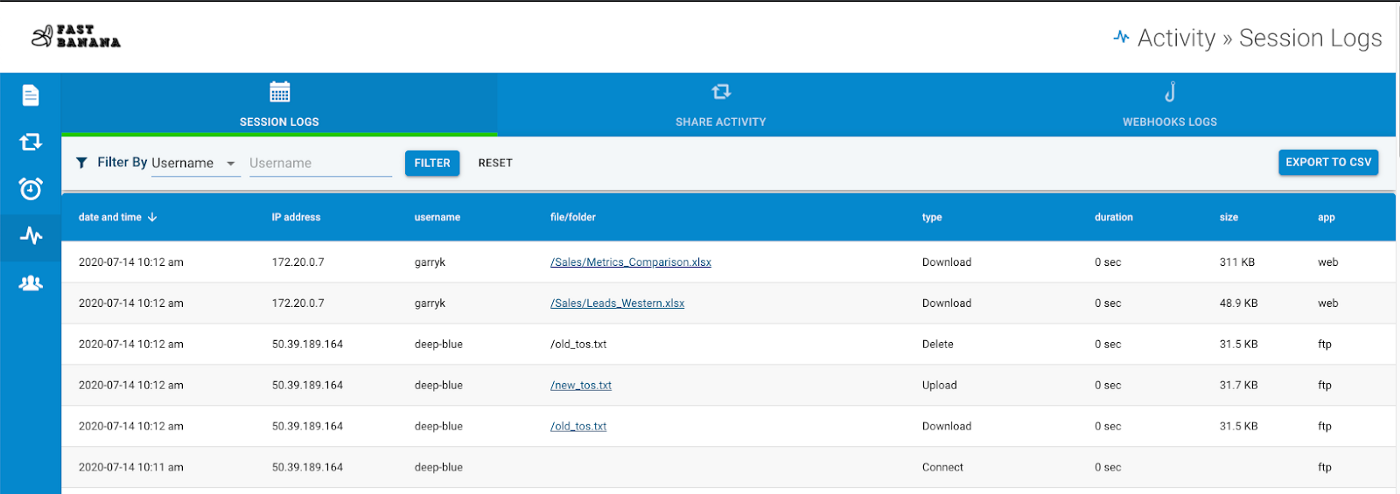 Activity logs in an FTP site file management interface.
