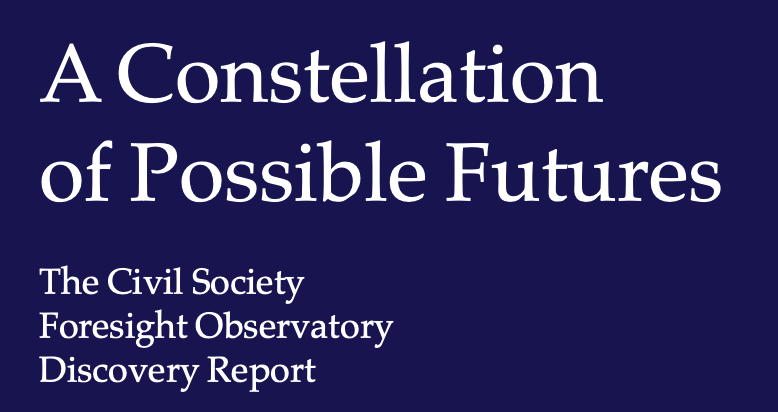 Screengrab of a report title: dark blue background with white lettering that says A Constellation of Possible Futures: The Civil Society Observatory Discovery Report
