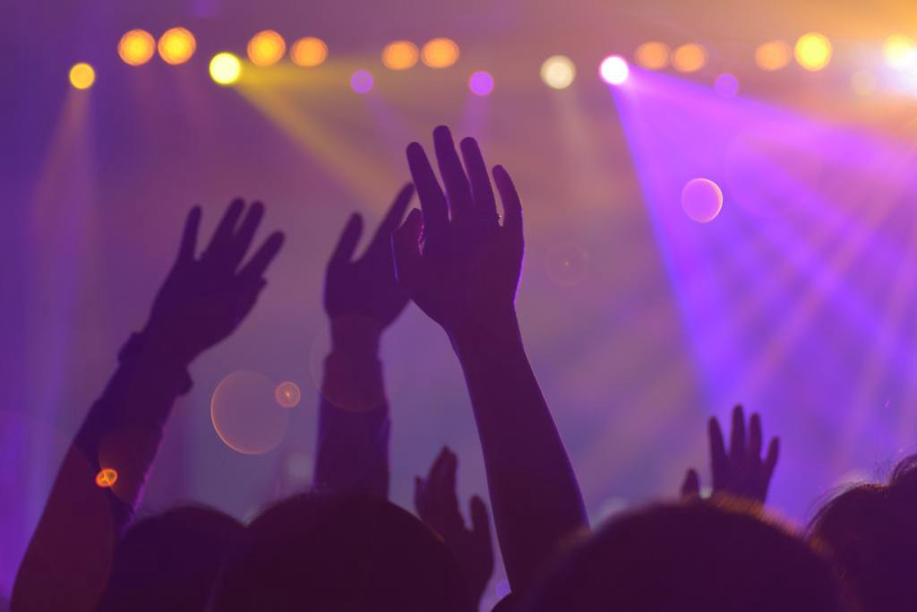 Hands raised in a crowd in front of a stage