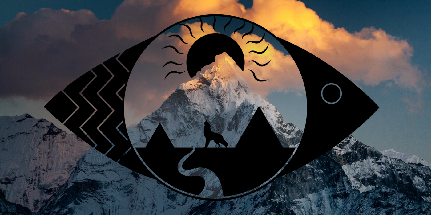 Header image featuring a fish-like shadow encasing a wolf, a mountain, the sun, and a river.