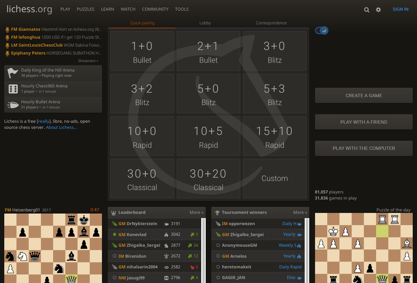 The home page of Lichess.org