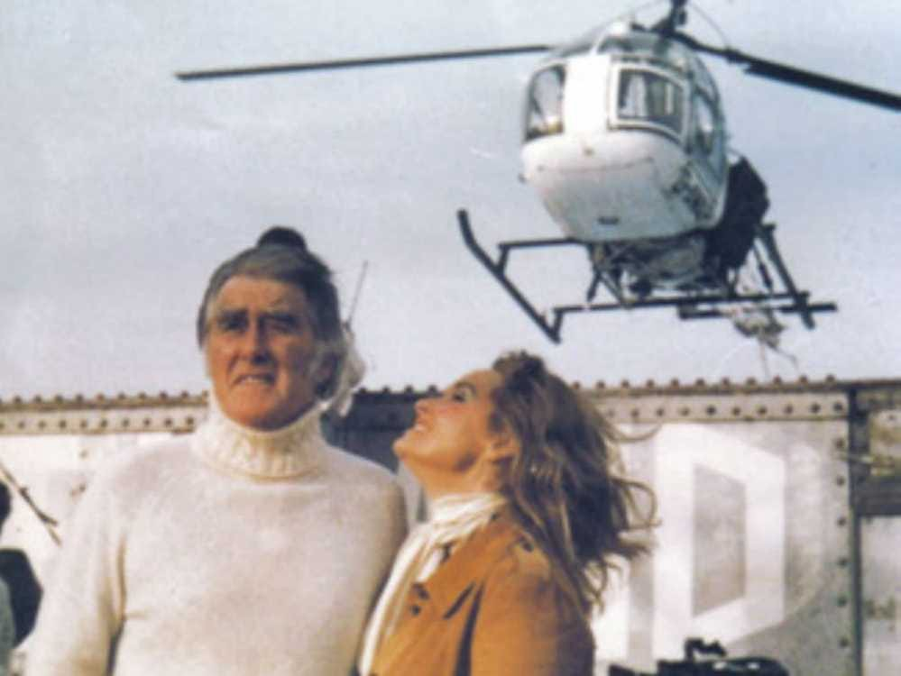 Sealand Roy and Joan on their platform underneath a helicopter