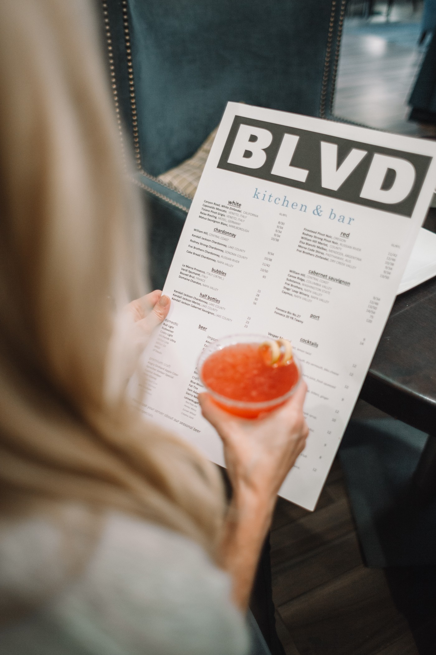 Reading a menu in a restaurant
