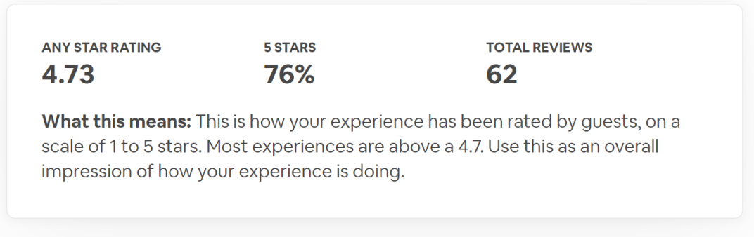 Screenshot of Airbnb review page