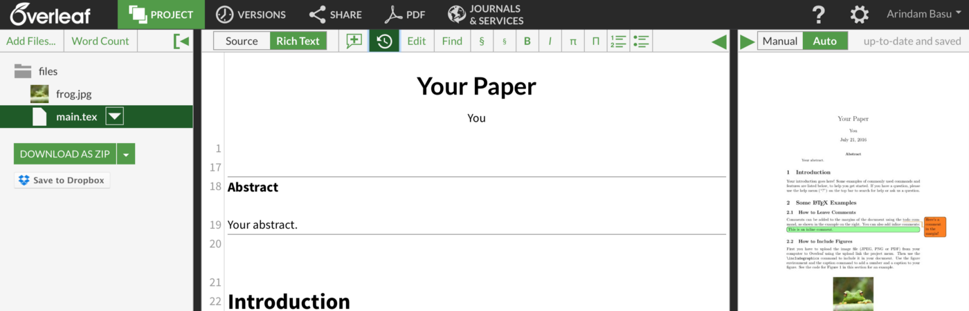 How to use Overleaf to Write your papers: Part I: Basic Minimalist setup