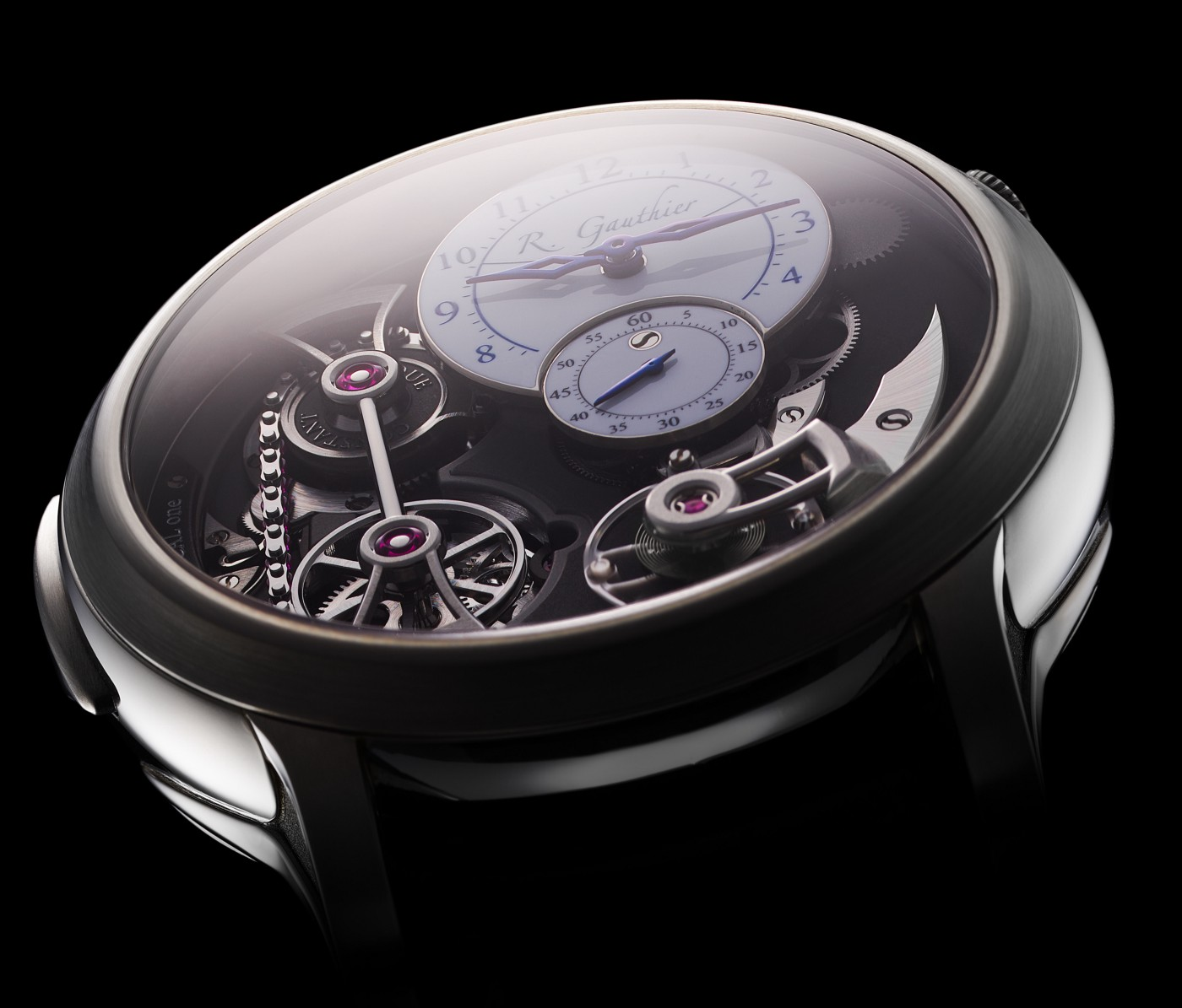 A close look at the white fired-enamel dials on this Romain Gauthier Logical One in natural titanium