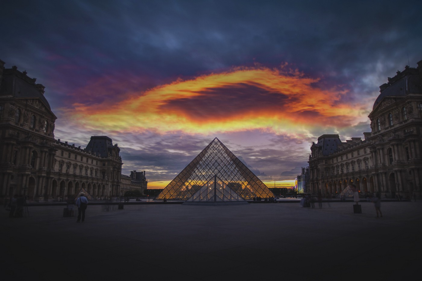 the Louvre museum seen at sunset