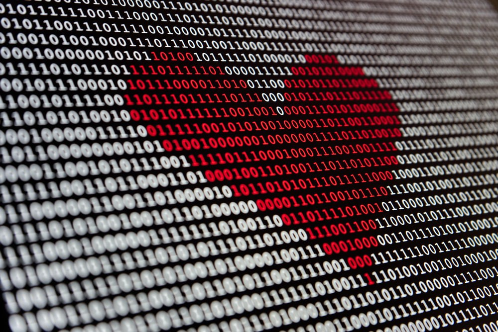 Picture of binary in the shape of a love heart to play on my love of PowerShell and code.