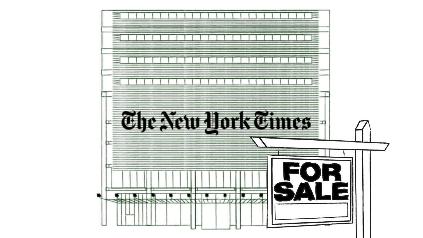 "An illustration of the New York Times office building with a ""For Sale"" sign in front."