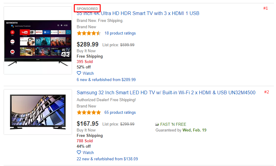ebay sponsored listing two examples
