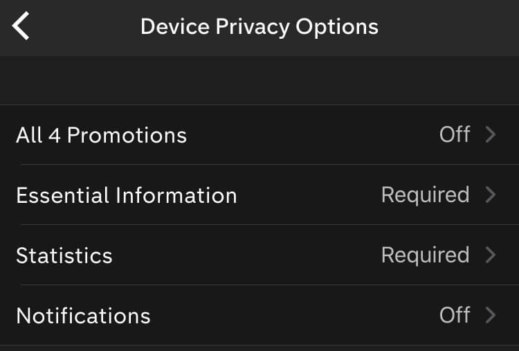 The All 4 app's settings don't let users turn off analytics cookies.