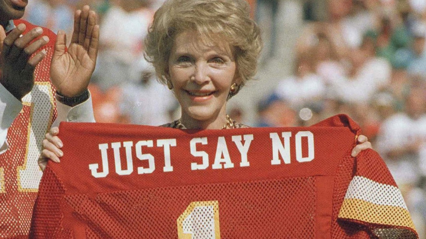 """Nancy Reagan promotes her """"Just Say No"""" campaign at a Washington Redskins football game in 1988."""
