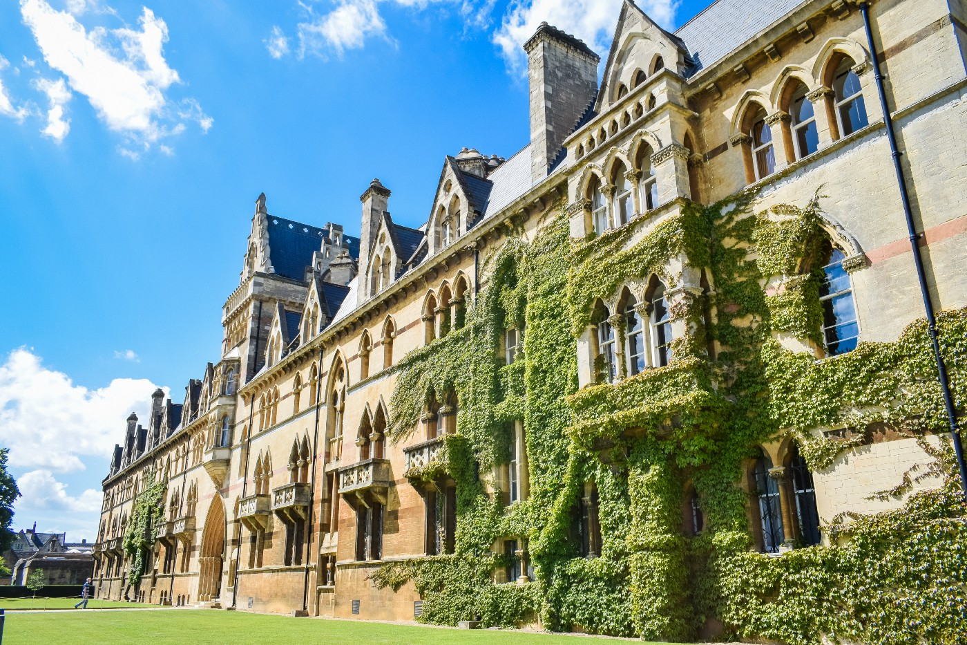 An old university building with ivy on the walls