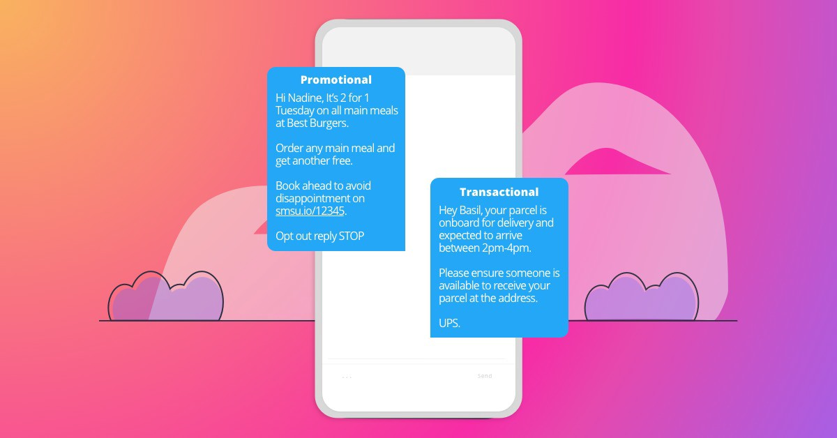 Text Marketing vs Transactional SMS examples