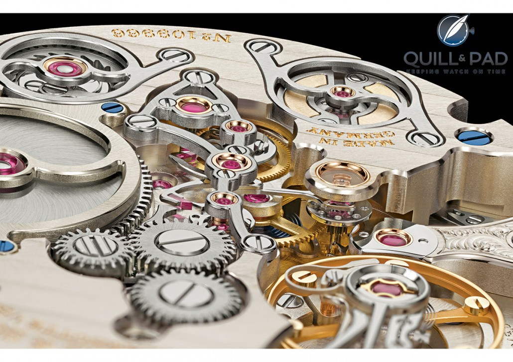 You could gaze for hours at the impeccably finished three-dimensionality of the beautiful movement of the A. Lange & Söhne Zeitwerk Minute Repeater