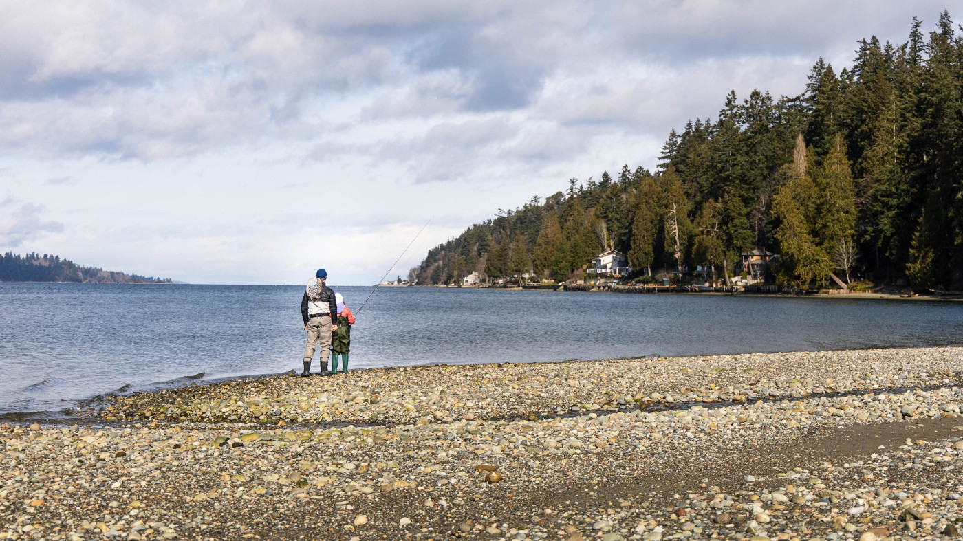 Puget Sound, Washington State—a beach and a town