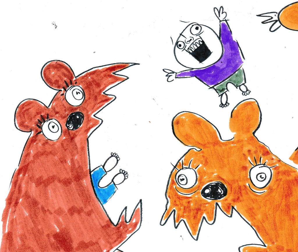 Whimsical illustration of two children getting eaten by colorful monsters.