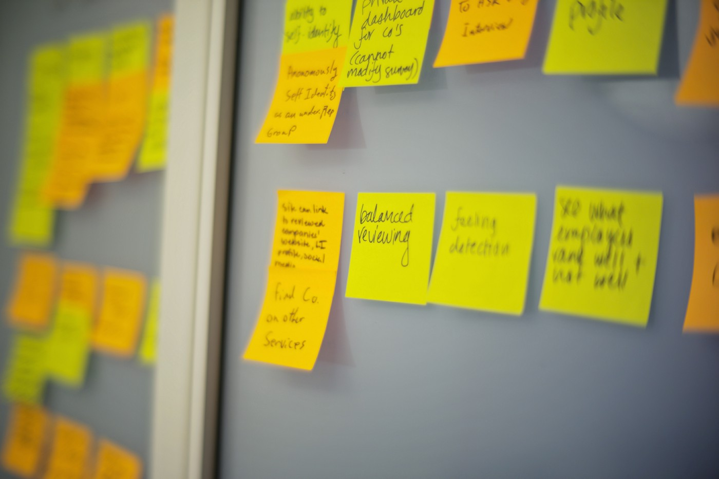 A variety of yellow post-its are stuck onto a board.