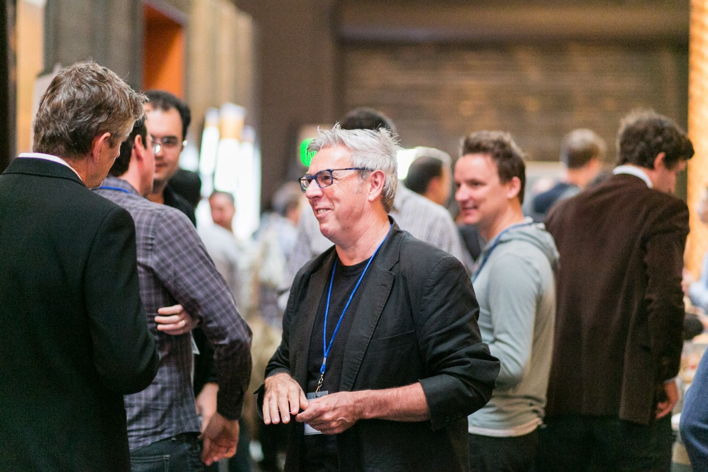 Roberto Pieraccini chatting with attendees