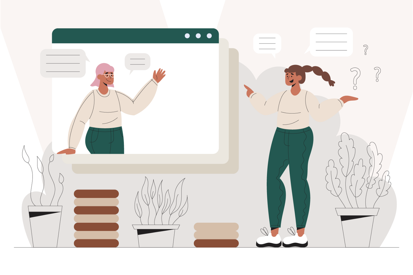 Graphic for a woman asking questions to another woman on the screen