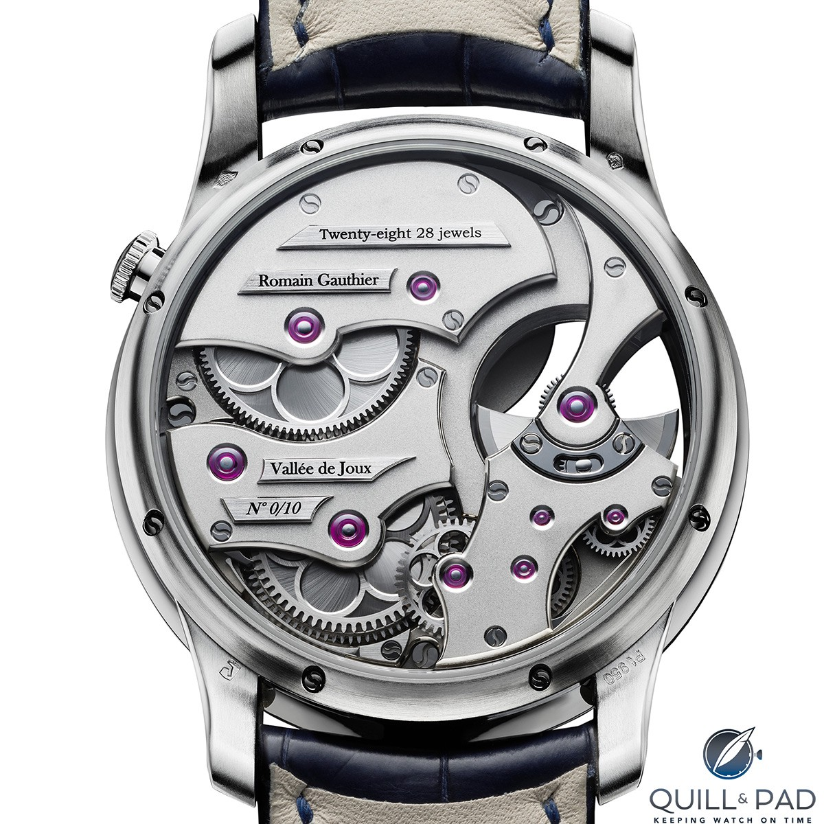 View through the display back of a limited edition platinum Romain Gauthier Insight micro-rotor