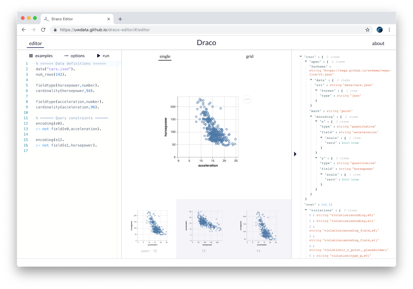 Draco: Representing, Applying & Learning Visualization Design Guidelines