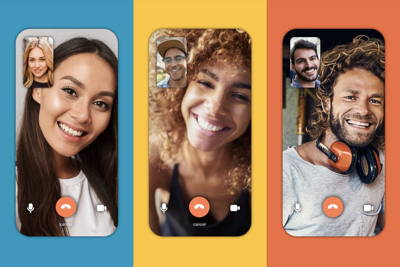 Side-by-side images of three people on video calls with others on the Bumble chat function.
