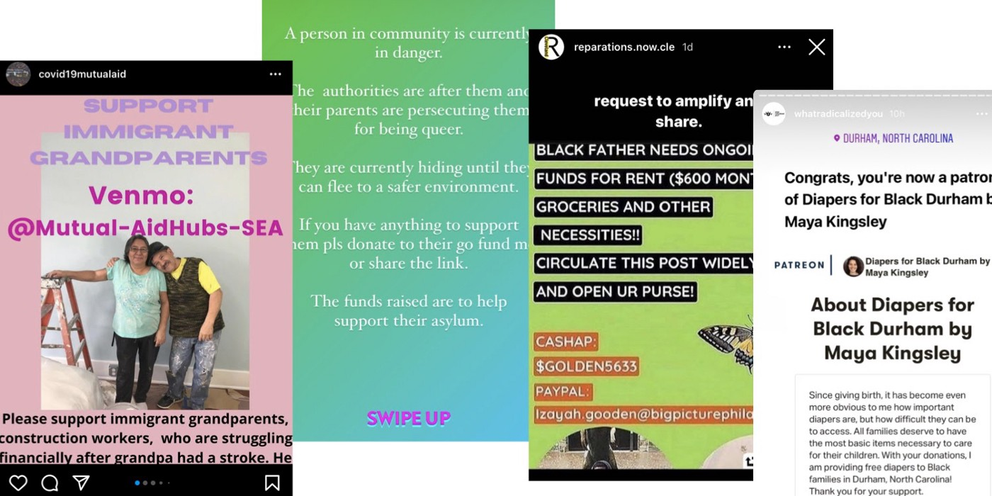 4 screenshots from Instagram stories asking for Mutual Aid funds for 4 Mutual Aid groups