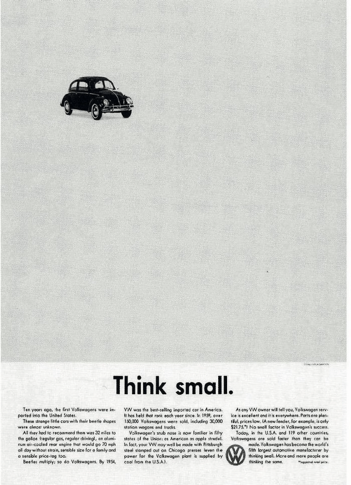 """Volkswagen """"Think Small"""" ad by DDB"""