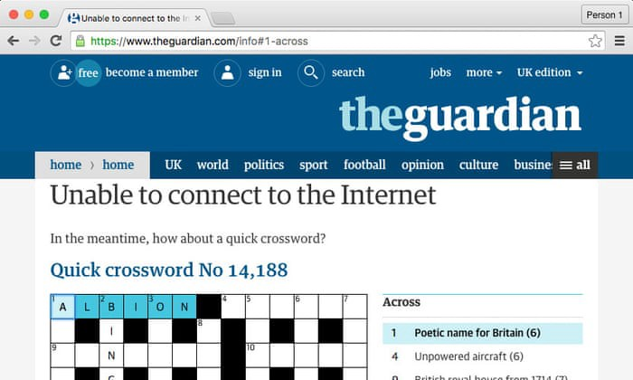 A screeshot of the guardian's offline page