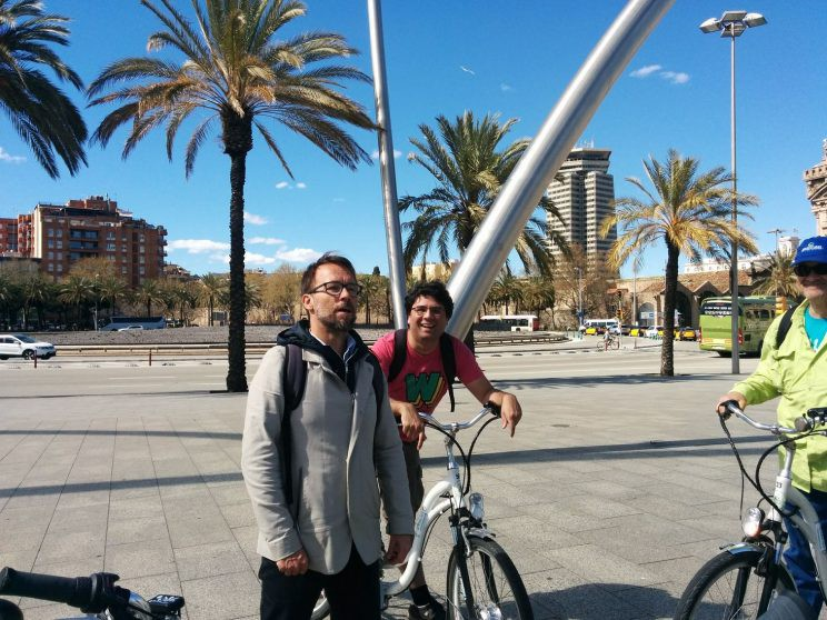 Our tour guide and Jamie on an e-bike