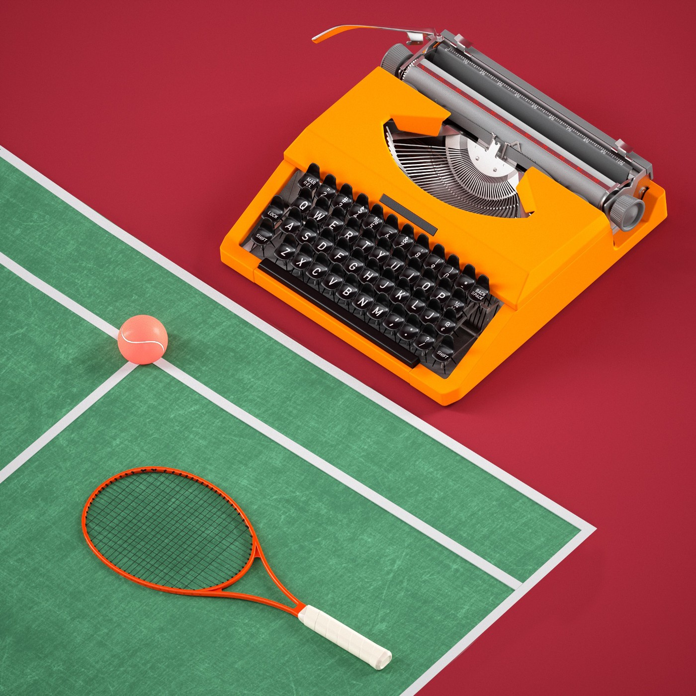 An artsy photo of a typewriter on a tennis court with a racquet and tennis ball