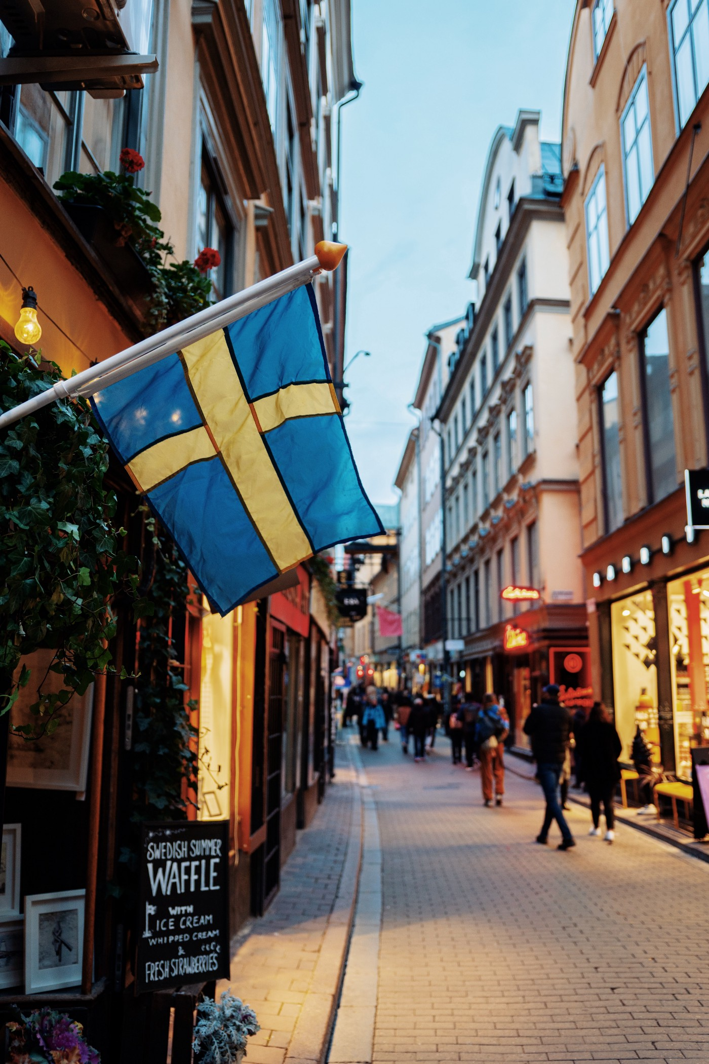 Swedish flag outside a restaurant in Stockholm, Sweden.