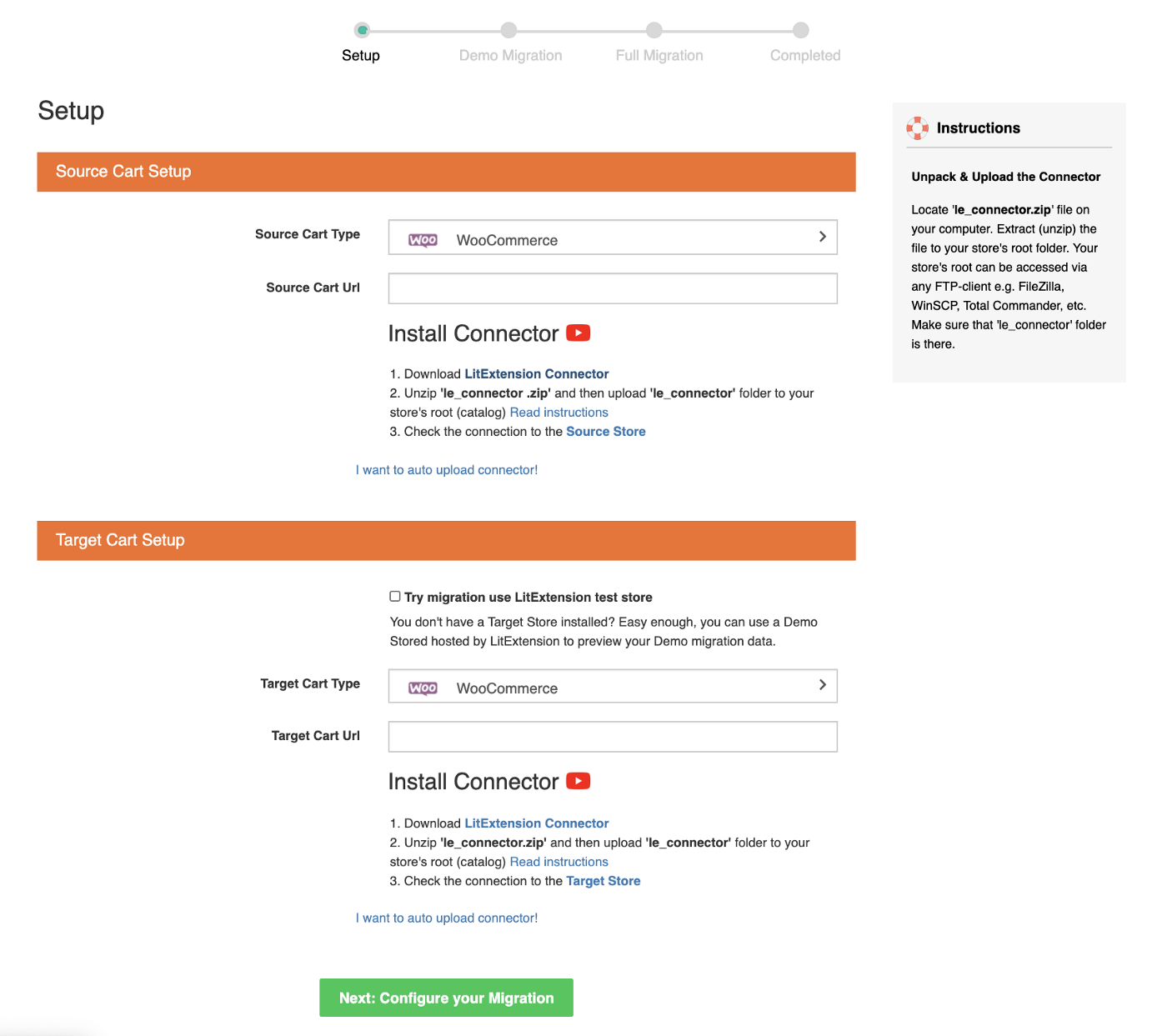 set up source and target cart woocommerce upgrade