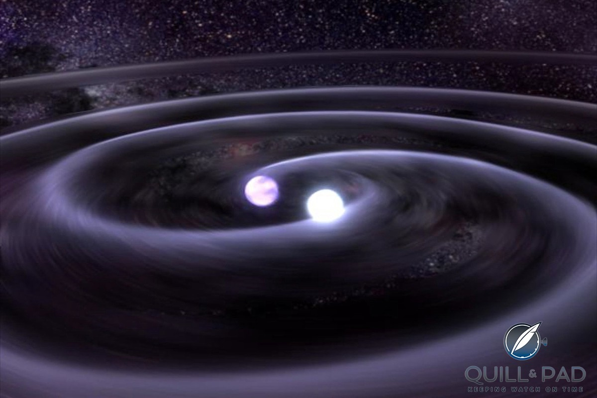 Two neutron stars spiraling in towards each other