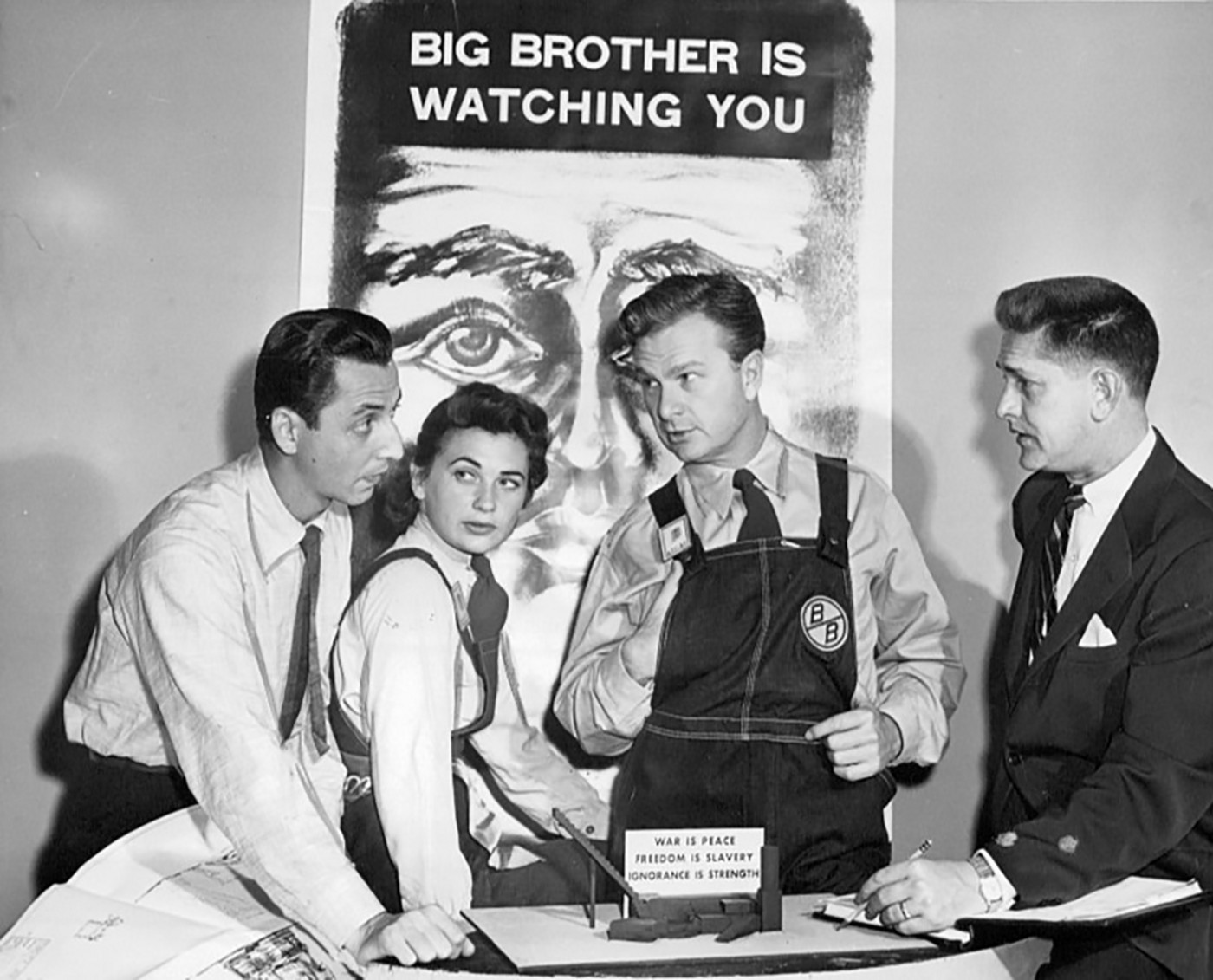 Actors Eddie Albert and Norma Crane, with director Paul Nickell and designer Kim Swados, publicise CBS's 1953 TV play of 1984