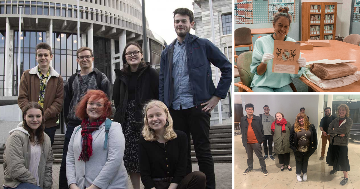 Three images of youth led campaigns: Seven members of the Make it 16 team standing in front of the Beehive; Jahvaya holding the original Hamilton city emblem; seven people from the groups Generation Zero, City for People and Renters United.