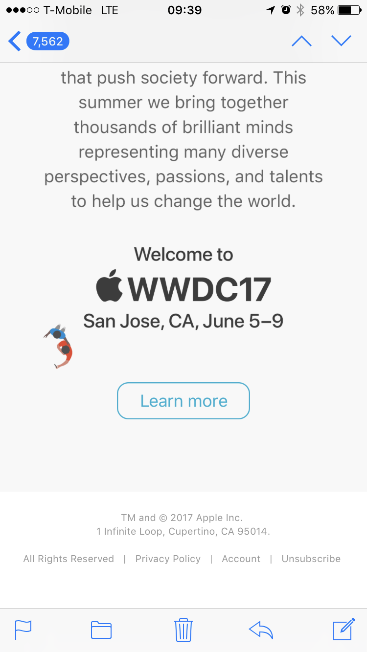 An email from Apple announcing WWDC 2017