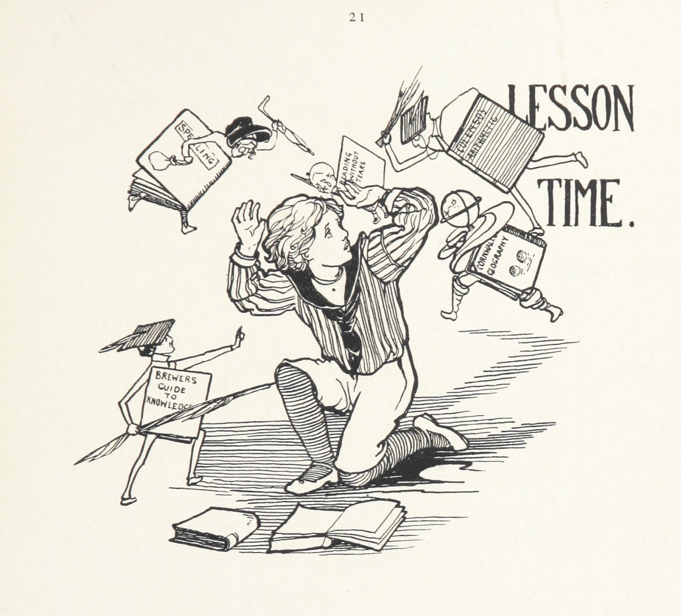 """Black and white illustration of a child in a striped sailor shirt and white pants, being attacked by anthromorphous books with the words in top right, """"Lesson Time."""""""