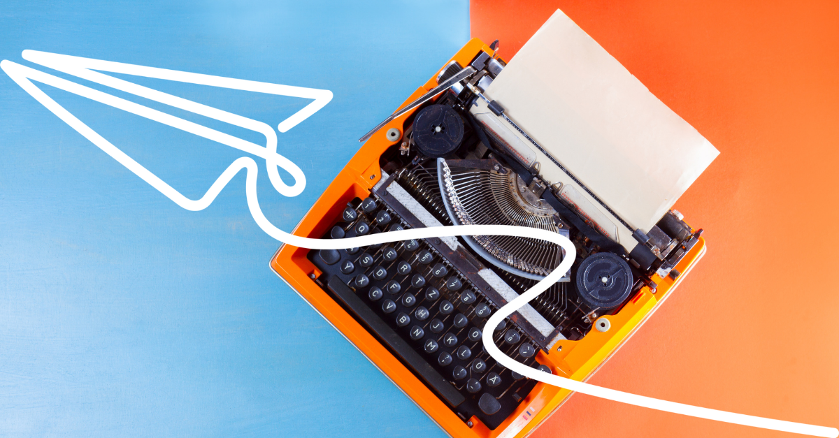 A typewriter with a blue and orange frame